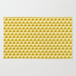 Faux Golden Leather Buttoned Rug