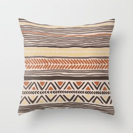Hand Drawn Ethnic Pattern Throw Pillow