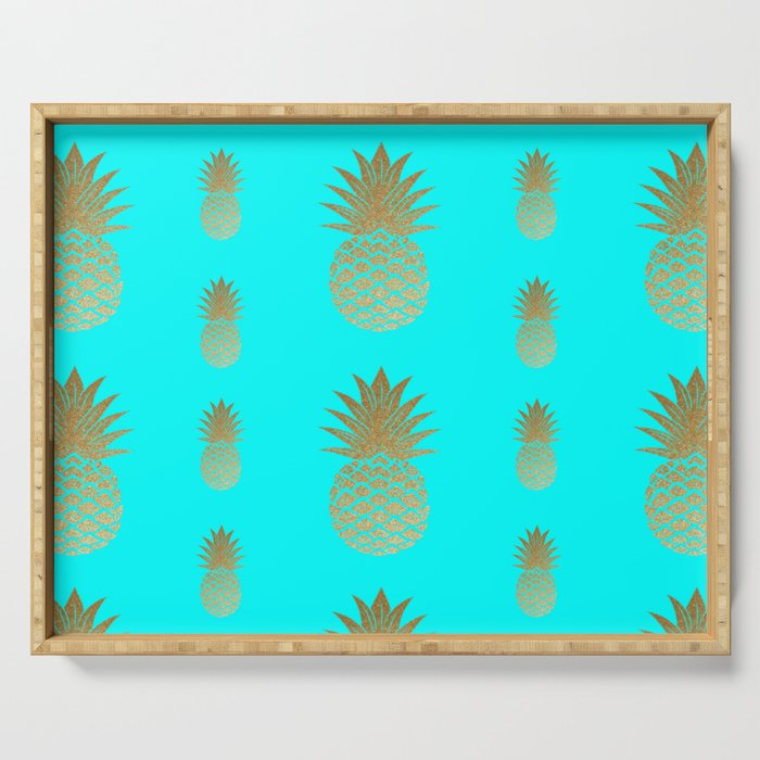 Pineapple blue and gold pattern Serving Tray