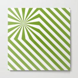 Stripes explosion - Green Metal Print