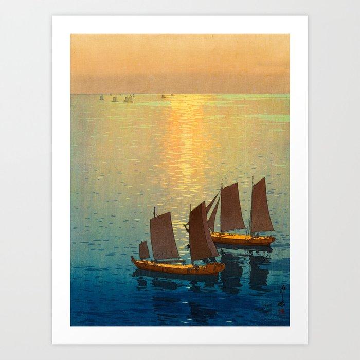 Hiroshi Yoshida Vintage Japanese Woodblock Art Ocean Sunset Sailboat Orange Blue Color Hues Art Print By Enshape Society6