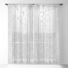 Modern silver glitter ombre metallic sparkles confetti Sheer Curtain