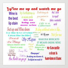 Coloured Wine Quotes Art Print