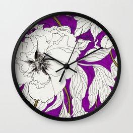 Purple Peonies Wall Clock