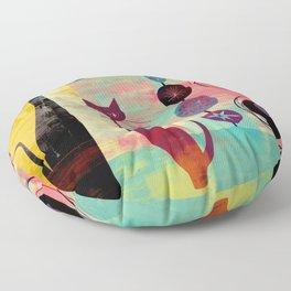 Mid-Century Modern 2 Cats - Graffiti Style Floor Pillow