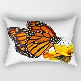 Monarch Butterfly on Zinnia Flower Rectangular Pillow