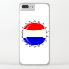 Red White And Blue Bottle Cap Clear iPhone Case