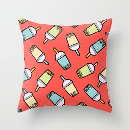 Bubble Tea Pattern in Red Throw Pillow