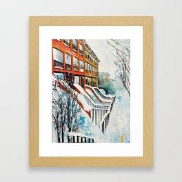 Brooklyn New York In Snow Storm Framed Art Print