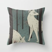 wolves Throw Pillows featuring Wolves by James White