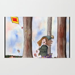 Girl with Kite whimsical watercolor and ink painting Rug