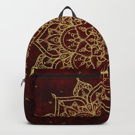 Deep Red & Gold Mandala Backpack