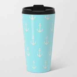 Maritime Aqua and White Anchor Pattern on #Society6 Travel Mug