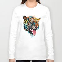 kitty Long Sleeve T-shirts featuring FEROCIOUS TIGER by dzeri29