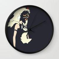 mononoke Wall Clocks featuring Princess Mononoke by Studio Momo╰༼ ಠ益ಠ ༽