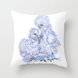 Silkie Chickens - Aspen and Toto Throw Pillow