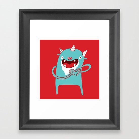 Monster Hearts You! Framed Art Print