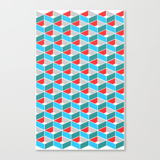 Simple Pattern Blue and Red Canvas Print