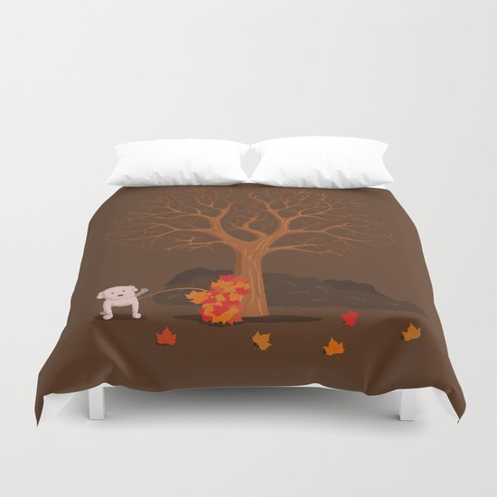 the fall and dog Duvet Cover