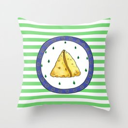 Samosa and stripes Throw Pillow