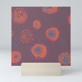 Hand Printed Circular Floral Mini Art Print
