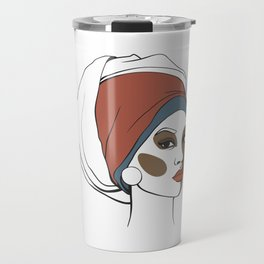 African American woman in headscarf with makeup. Abstract face. Fashion illustration Travel Mug