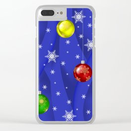 Christmas balls with background Clear iPhone Case