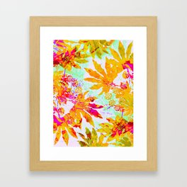 Tropical Adventure - Neon Orange, Pink and Mint Framed Art Print