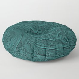 Deep Teal Tooled Leather Floor Pillow