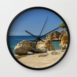rock formation on Olhos d'Agua beach, Portugal Wall Clock