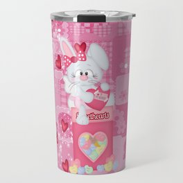 Valentines Bunny and Conversation Hearts Candy Travel Mug