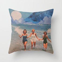 Blue Bathers Throw Pillow
