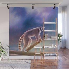 Cute painted Ring-tailed lemur Wall Mural