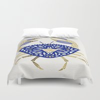 crab Duvet Covers featuring Crab – Navy & Gold by Cat Coquillette