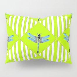 LIME GREEN COLOR BLUE  DRAGONFLY GEOMETRIC ART Pillow Sham