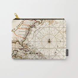 Vintage Atlantic Ocean Map Carry-All Pouch