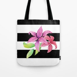 Stripes & Flowers Tote Bag