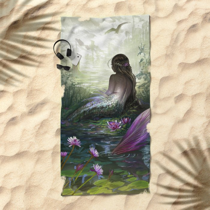 Little mermaid - Lonley siren watching kissing couple Beach Towel