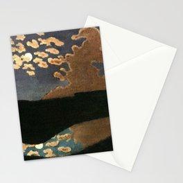 Moonlight reflections coastal landscape painting by Felix Vallotton Stationery Cards