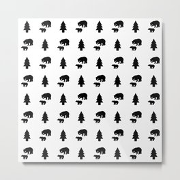 Mama & Baby Bear Pattern: Black & White Metal Print