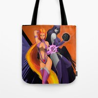 teen titans Tote Bags featuring Power Teen by Esteban Barrientos
