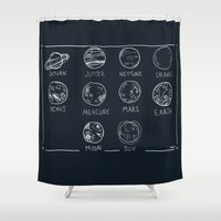 solar system Shower Curtains featuring solar system by sarah sawtelle