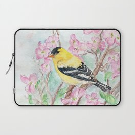 Goldfinch and Dogwood Flowers Laptop Sleeve
