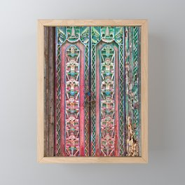 Old teak wood door with traditional carving in a Balinese temple | Bali Decor Indonesian Culture Antique Boho Bohemian Eclectic Wanderlust Cultural Exotic Travel Teal Magenta Green Blue Pink Unique Ornate Detailed Carving Framed Mini Art Print