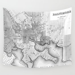 Vintage Map of Baltimore Maryland (1838) BW Wall Tapestry