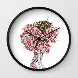 girl with map head Wall Clock