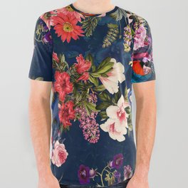FLORAL AND BIRDS XII All Over Graphic Tee