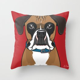 Boxer Art Poster Dog Icon Series by Artist A.Ramos. Designed in Bold Colors. Throw Pillow