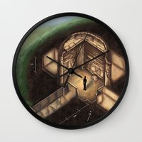 tomb raider Wall Clocks featuring Maeshowe Tomb by Rushelle Kucala Art