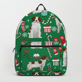 Brittany Spaniel christmas pattern dog breed presents stockings candy canes Backpack